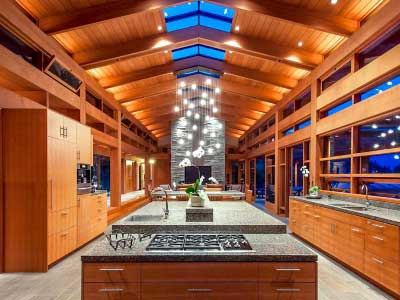 wood beam ceiling in kitchen